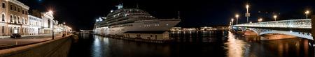 blagoveshchensky: St.Petersburg, Russia - May 18, 2016:  Cruise liner Seabourn Quest moored at English embankment, St. Petersburg, Russia