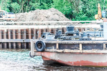 malaya: St.Petersburg, Russia - May 17, 2016: Ship maintenance platform in the river dock.