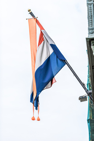 solemn: Flag of Netherlands on the embassy in St.Petersburg, Russia.