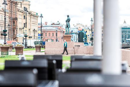 lieutenant: St.Petersburg, Russia - May 19, 2016: Monument to Ivan Krusenstern on Lieutenant Schmidt embankment.