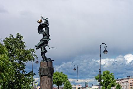 founders: Petrogradskaya embankment. The monument to Russian fleet founders. Stock Photo
