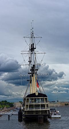 frigate: Floating restaurant in the form of frigate on Neva river. Stock Photo
