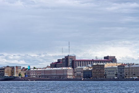 neva: View fron Neva river to Kutuzov embankment on summer day, St. Petersburg, Russia. Stock Photo