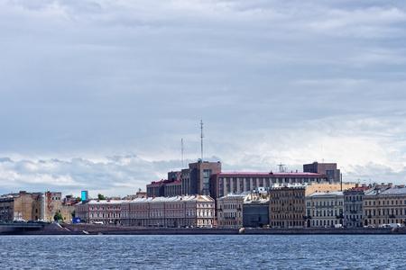 piter: View fron Neva river to Kutuzov embankment on summer day, St. Petersburg, Russia. Stock Photo