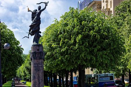 founders: St.Petersburg, Russia - June 10, 2016: Petrogradskaya embankment. The monument to Russian fleet founders.