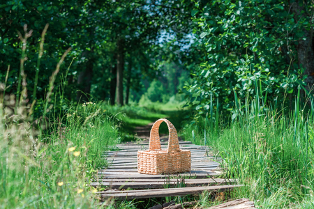 footway: Rectangle basket standing on the plank footway among the grass. Stock Photo