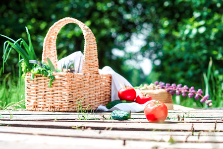 footway: Rectangle basket with green vegetables and tableware, red tomatoes and green cucumbers on the plank footway among the grass. Stock Photo