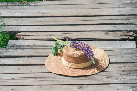 footway: Straw hat with lupin flower on the plank footway among the grass. Stock Photo