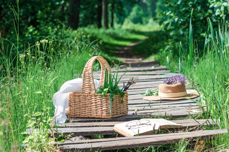 footway: Rectangle basket with green vegetables, straw hat, book and eyeglasses on the plank footway among the grass.