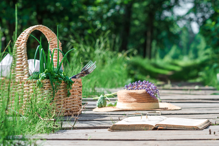 potherbs: Rectangle basket with green vegetables, straw hat, book and eyeglasses on the plank footway among the grass.