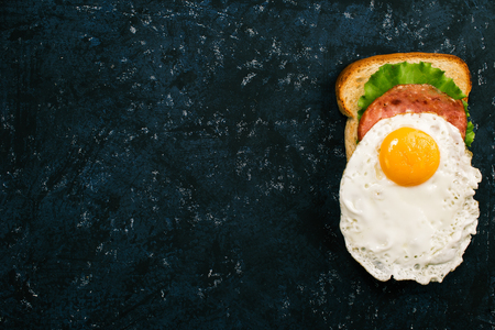 spotty: Traditional american breakfast: sandwich with eggs over spotty black surface Stock Photo