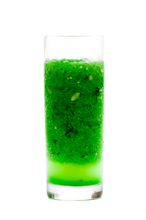 pulpy: Fresh pulpy juice or smoothie of cucumber, broccoli or celery over white background. Stock Photo