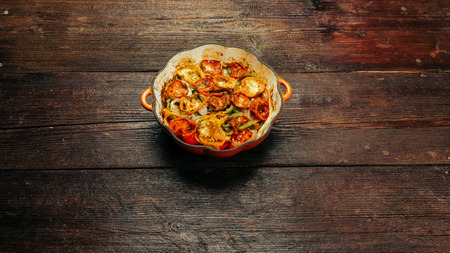 cocozelle: Pan with baked ratatouille - traditional French vegetarian dish Stock Photo