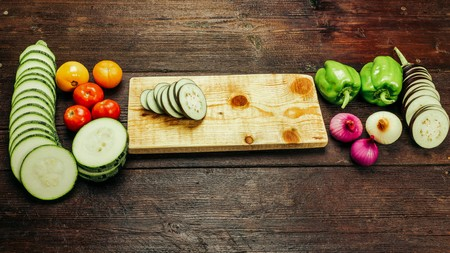 cocozelle: Vegetable ingredients for cooking ratatouille - traditional French vegetarian dish Stock Photo