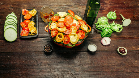 cocozelle: Vegetable ingredients and pan for cooking ratatouille - traditional French vegetarian dish