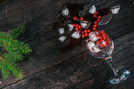 fur tree: Wine glass with ice cubes and red berries lying on the dark wood surface decorated with fur tree twigs. Flat lay Stock Photo