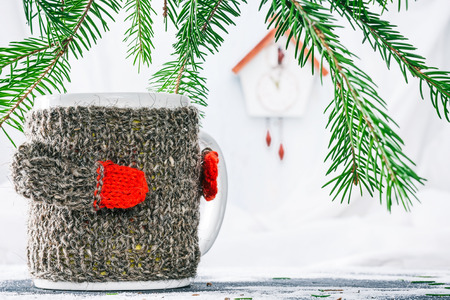 reloj cucu: Mug in wool warmer under evergreen branches with toy cuckoo clock on the background