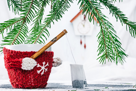 warmer: Cup in wool warmer under evergreen branches holding fishing rod with tea bag Stock Photo