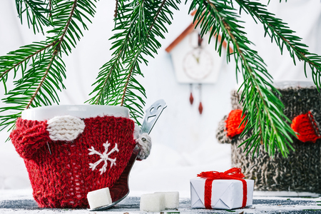 warmer: Little cup in wool warmer holding teaspoon with sugar cubes near the gift box under evergreen branches