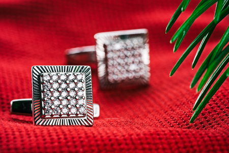 evergreen branch: Silver square cufflinks on red textured fabric under evergreen branch. Macro detail view