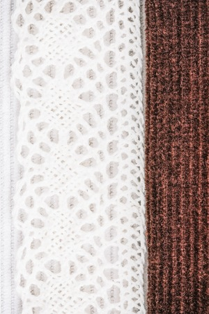 corduroy: Milky white and chocolate brown corduroy combination with cotton lace. Macro view