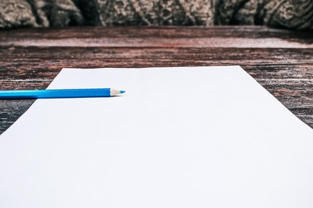 rasa: Blue pencil laying on blank sheet of paper. Closeup wide angle view