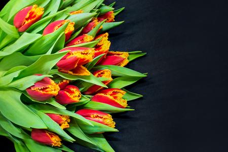 wedding love: bouquet of tulips in black bacground left