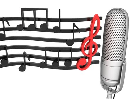 microphone with notes on a white background