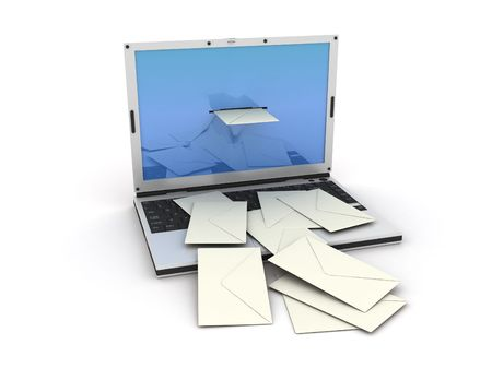 laptop which letters go out from Stock Photo - 3484469