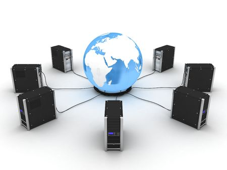 web server: abstract presentation of the internet on earth