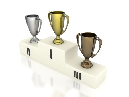 longing: pedestal winners on a white background Stock Photo