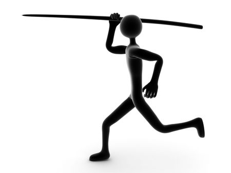 thrower: thrower of spear on a white background