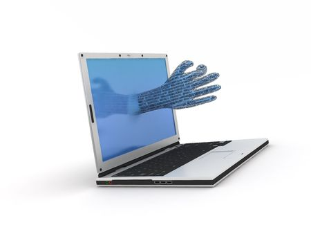 consignor: a hand going out from a notebook Stock Photo