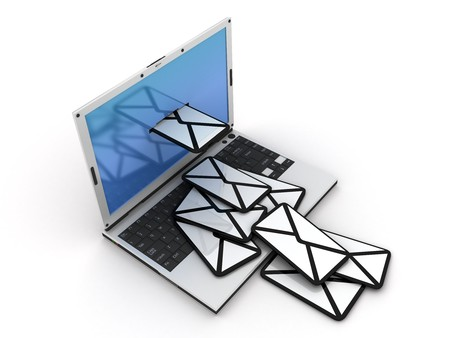 telegrama: port�til cartas que salir de Foto de archivo