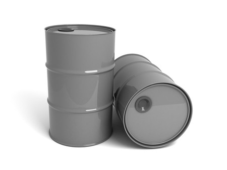 obtain: two barrels in 3d on a white background Stock Photo