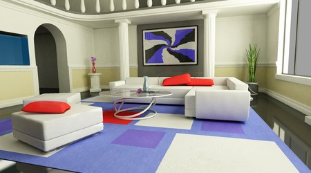 living-room is in modern style (view back)  photo