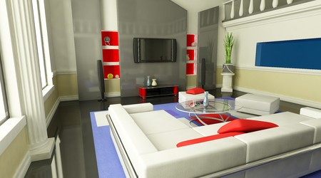 living-room is in modern style (view front)    photo