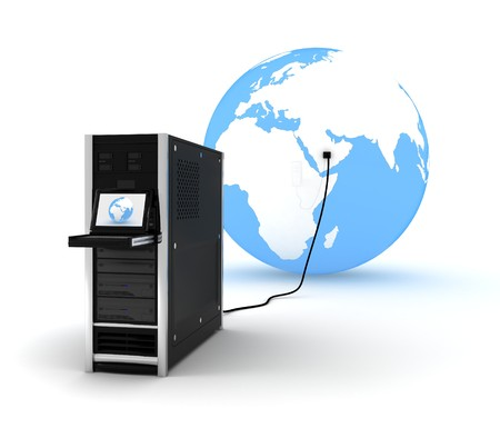 abstract presentation of the server on earth  Stock Photo - 4428937