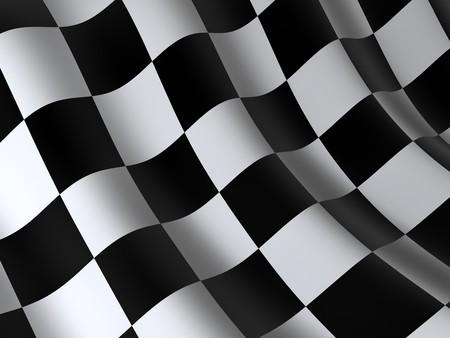 schwarz weiss kariert: Flagge Start-oder finesha, in 3D