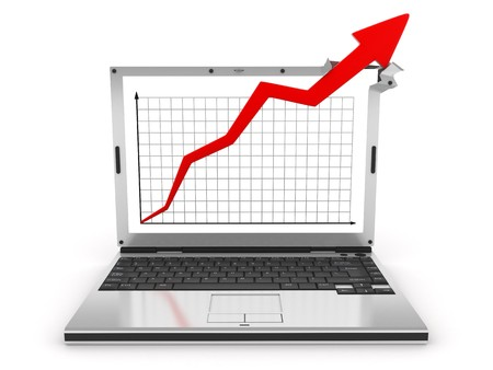 abstract graph showing high growth (isolatid, 3d) Stock Photo
