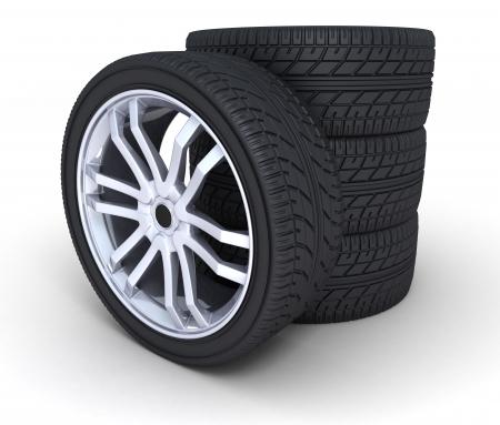 neumaticos: cuatro ruedas de autom�viles, sobre un fondo blanco