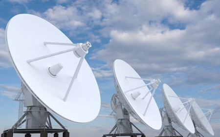 directed: row of radars directed in sky (3d)