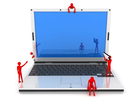 void: empty display of laptop for text-entering  Stock Photo