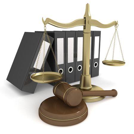 legal document: escalas de oro sobre el fondo aislado (3d)