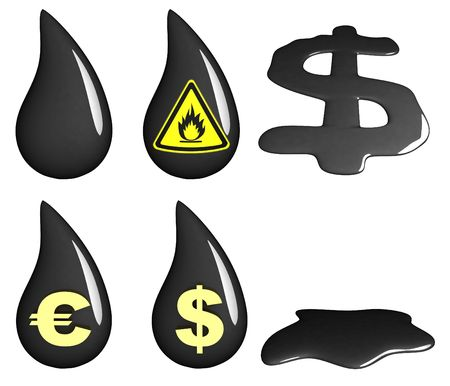 obtain: petroleum in done 3d (six icons)  Stock Photo
