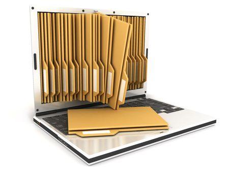 laptop and folder, on white background  photo