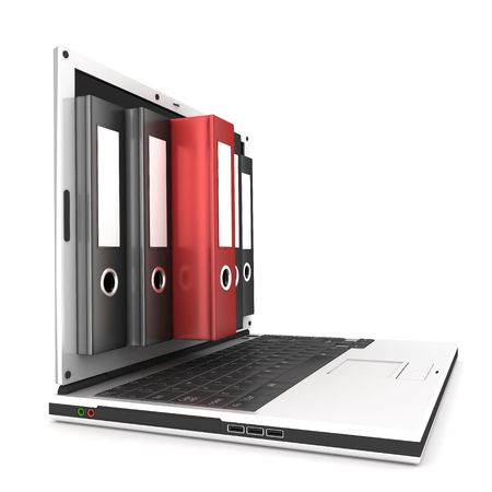 arquivos: laptop and files, on white background  Banco de Imagens