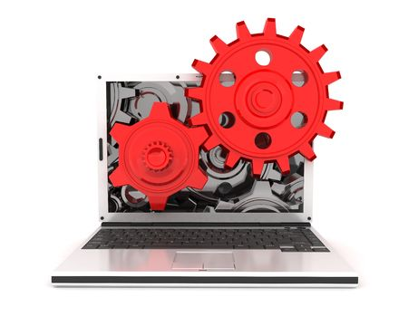 laptop and gears (done in 3d, isolated)  photo