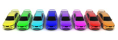 colored dye: Eight sporting car on a white background