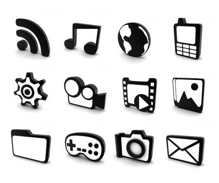 twelve: twelve icons on computer white and black